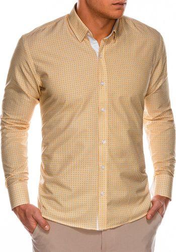 Ombre Koszula męska z długim rękawem K467 - pomarańczowa/zielona M