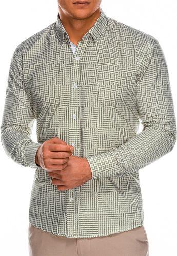 Ombre Koszula męska z długim rękawem K467 - zielona/brązowa M