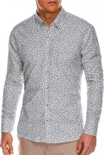 Ombre Koszula męska z długim rękawem K475 - biała/brązowa M
