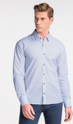 Ombre Koszula męska z długim rękawem K477 - biała/niebieska L