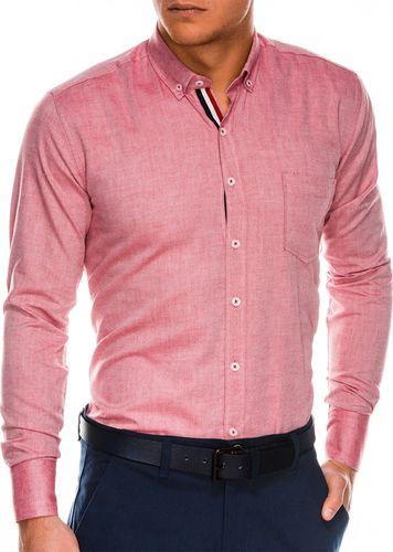 Ombre Koszula męska z długim rękawem K490 - czerwona S