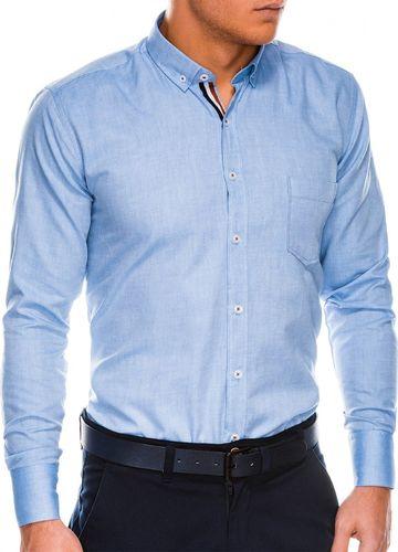 Ombre Koszula męska z długim rękawem K490 - niebieska M