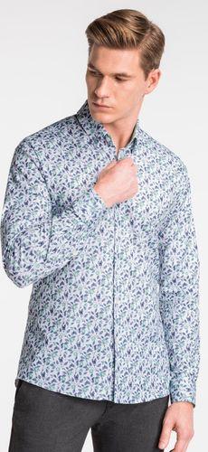 Ombre Koszula męska z długim rękawem K491 - biała/zielona L