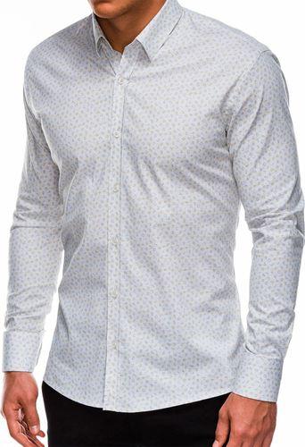 Ombre Koszula męska z długim rękawem K495 - biała/żółta L