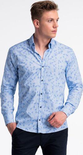 Ombre Koszula męska z długim rękawem K500 - błękitna/niebieska M