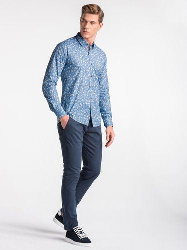 Ombre Koszula męska z długim rękawem K500 - niebieska/beżowa M