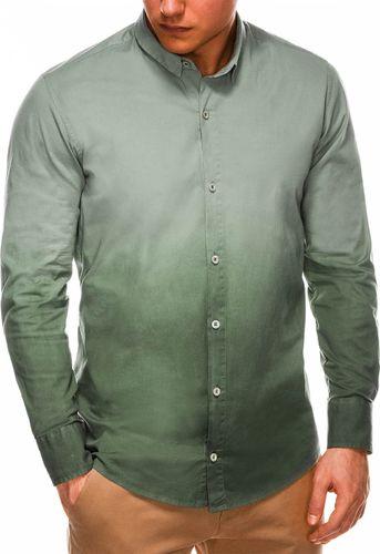 Ombre Koszula męska z długim rękawem K514 - khaki M