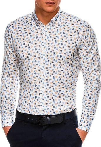 Ombre Koszula męska z długim rękawem K518 - biała XL