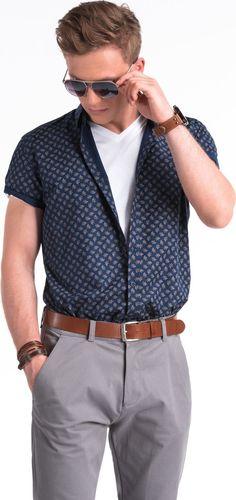 Ombre Koszula męska z krótkim rękawem K473 - granatowa/brązowa L