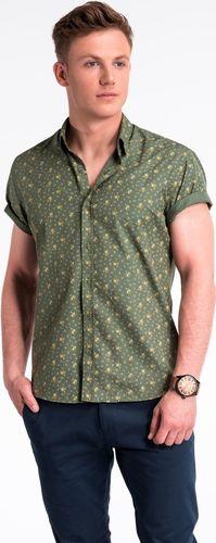 Ombre Koszula męska z krótkim rękawem K473 - zielona/beżowa M
