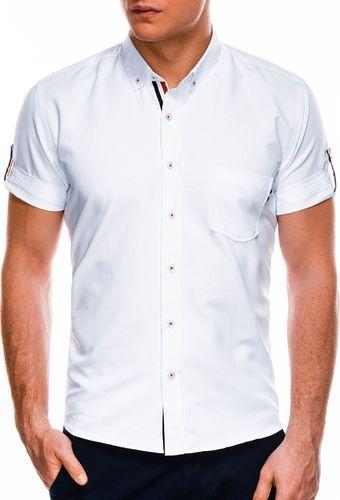 Ombre Koszula męska z krótkim rękawem K489 - biała M