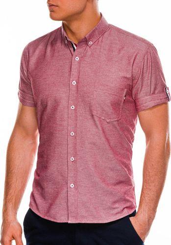 Ombre Koszula męska z krótkim rękawem K489 - czerwona S