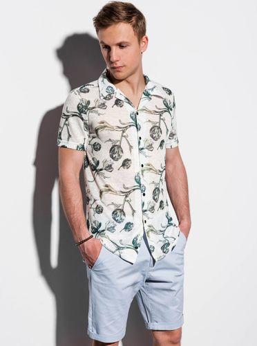 Ombre Koszula męska z krótkim rękawem K547 - ecru S