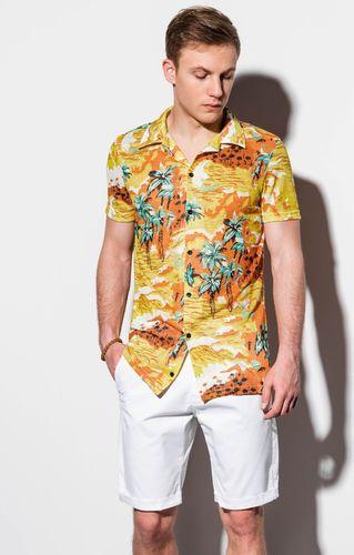 Ombre Koszula męska z krótkim rękawem K548 - żółta XL