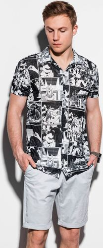 Ombre Koszula męska z krótkim rękawem K549 - czarna S