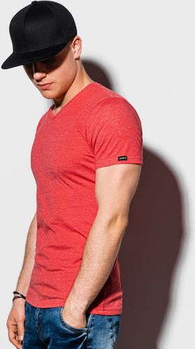 Ombre T-shirt męski bez nadruku S1041 - koralowy XXL