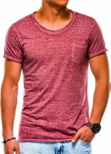 Ombre Koszulka męska S1051 bordowa r. S