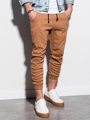 Ombre Spodnie męskie joggery P731 - beżowe S