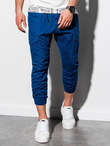 Ombre Spodnie męskie joggery P761 - niebieskie S