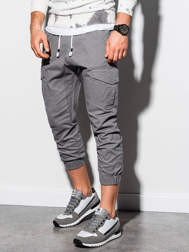 Ombre Spodnie męskie joggery P761 - szare S