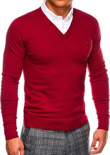 Ombre Sweter męski E120 - czerwony M