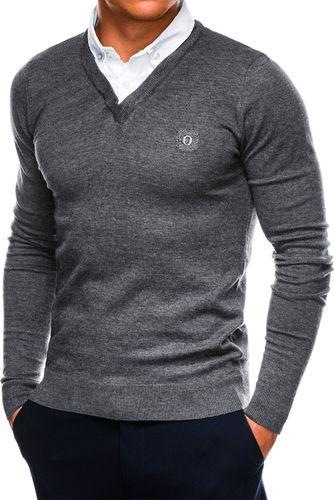 Ombre Sweter męski E120 - grafitowy/melanżowy M