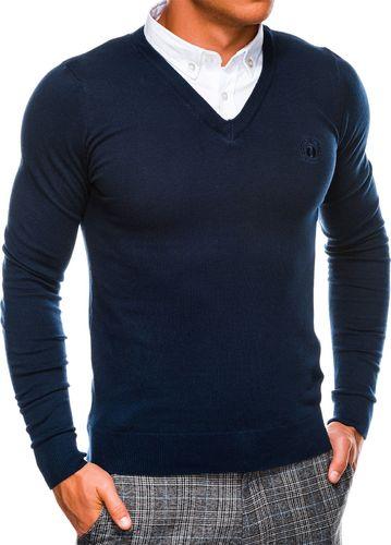 Ombre Sweter męski E120 - granatowy L