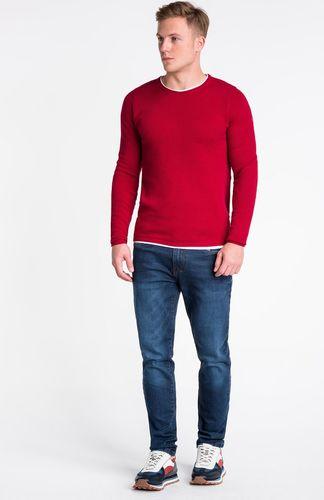 Ombre Sweter męski E121 - czerwony XXL