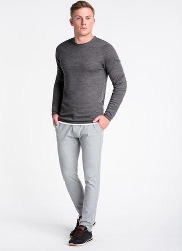 Ombre Sweter męski E121 - grafitowy/melanżowy XXL