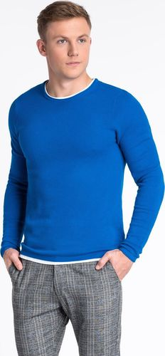Ombre Sweter męski E121 - niebieski S