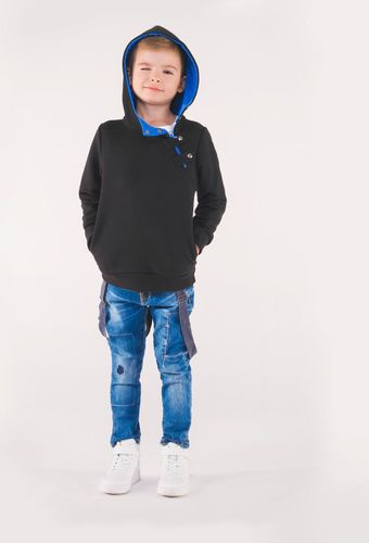Ombre Bluza dziecięca z kapturem KB005 - czarna/niebieska 92