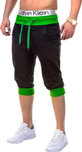 Ombre Krótkie spodenki męskie dresowe P29 - czarno-zielone XL