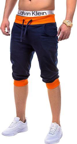 Ombre Krótkie spodenki męskie dresowe P29 - granatowo-pomarańczowe L