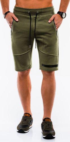 Ombre Krótkie spodenki męskie dresowe W051 - oliwkowe S