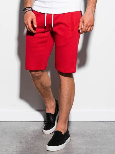 Ombre Krótkie spodenki męskie dresowe W238 - czerwone M