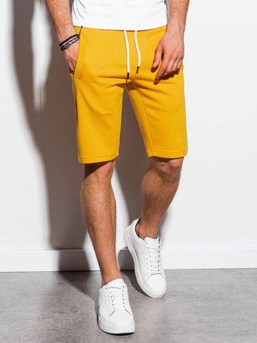Ombre Krótkie spodenki męskie dresowe W238 - żółte XXL