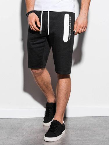 Ombre Krótkie spodenki męskie dresowe W239 - czarne XL