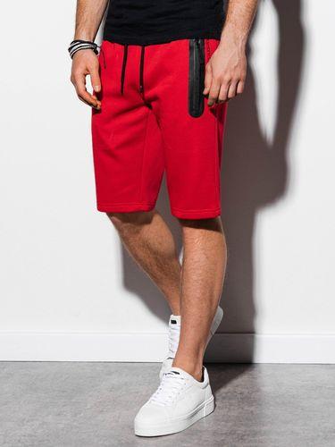 Ombre Krótkie spodenki męskie dresowe W239 - czerwone M