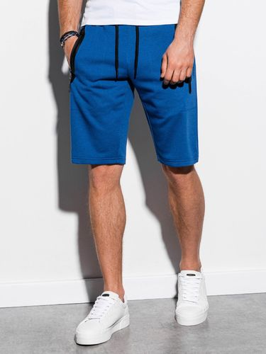 Ombre Krótkie spodenki męskie dresowe W239 - niebieskie XL