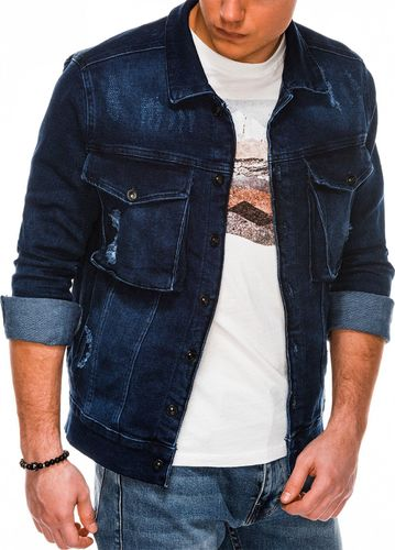 Ombre Kurtka męska jeansowa C403 - jeans S