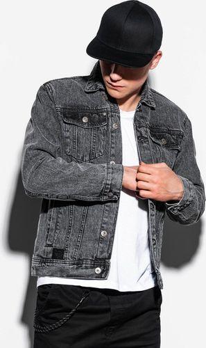 Ombre Kurtka męska jeansowa C441 - czarna XXL