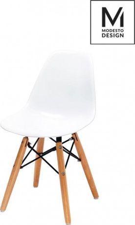 Modesto Design MODESTO krzesło JUNIOR DSW białe - polipropylen, nogi bukowe