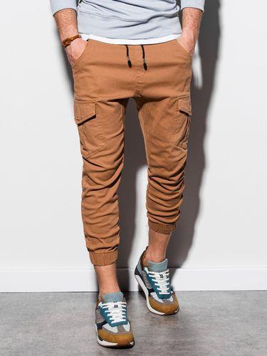 Ombre Spodnie męskie joggery P761 - beżowe S