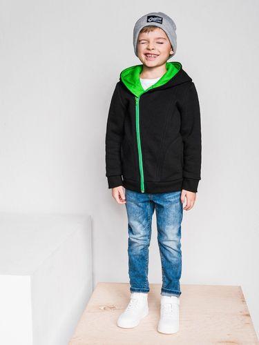 Ombre Bluza dziecięca rozpinana z kapturem KB001 - czarna/zielona 92