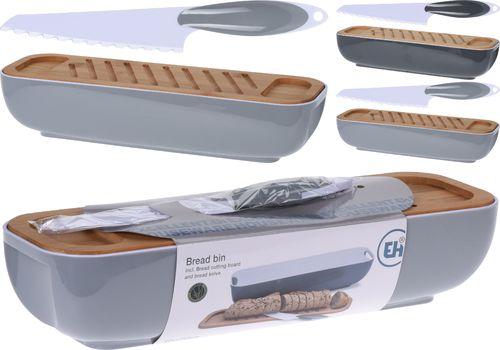 Chlebak Excellent Housewares z tworzywa z deską do krojenia