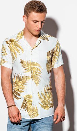 Ombre Koszula męska z krótkim rękawem K558 - biała XL
