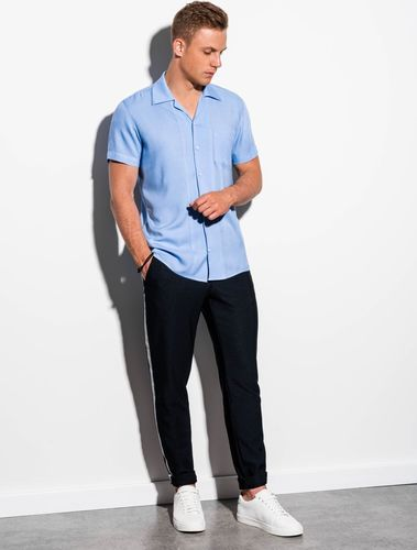 Ombre Koszula męska z krótkim rękawem K561 - błękitna M