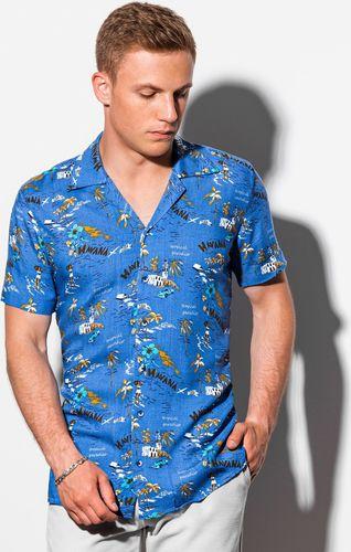 Ombre Koszula męska z krótkim rękawem K560 - niebieska M
