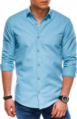 Ombre Koszula męska z długim rękawem K512 - błękitna S