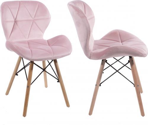 LEOBERT 2x Krzesło ELVA aksamitne tapicerowane - różowe